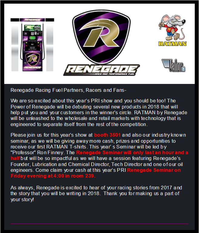 Renegade Race Fuel >> The Latest News From Renegade Race Fuels Lubricants
